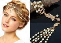 Wholesale 2016 Beautiful Wedding Bridal Hair Accessories Cheapest Metal Beaded Pearls Head Chain Indian Women Hair Jewelry