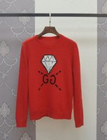 Wholesale 2016 Autumn New Red Letter Diamond Knitted High Quality Long Sleeves Women s Sweater Women s Pullovers