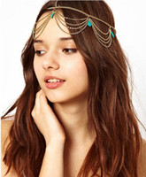 Wholesale 2016 new European style Bohemian turquoise fringed tassel blue stone hair band hair bands headwear