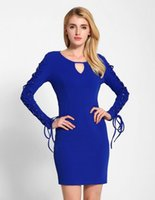Wholesale 2016 New Sexy Women Fashion V neck Hollow Long Sleeve Bandage Cocktail Evening Club Bodycon Dress