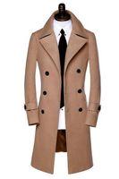 Wholesale Fall Black grey khaki winter warm wool coat men coat veste homme overcoat men trench coat youth fashion brand plus size M XL XL