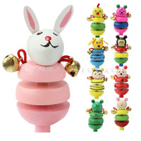 Wholesale Creative Wooden Jingle Hand Bells Kids Toddler Baby Music Educational Toy Gift