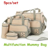 Wholesale 5PC set Multifunctional large capacity mother bag Mummy bags shoulder diagonal fashion for pregnant women Mummy package baby bag