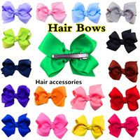 Cheap 2016 NEW Fashion Boutique Ribbon Bows For Hair Bows Hairpin Hair accessories Child Hairbows Girl Flower Hair Bands 20 colors Cheer Bows
