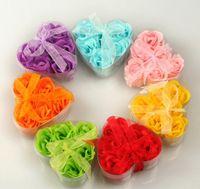 Wholesale Heart Shaped Rose Soap Flower Romantic Bath Soap Wedding Gift Pieces One box Mix Colors