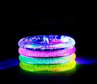 Wholesale 12PC LED bracelet light up flashing Glowing bracelet Blinking Crystal bracelet Party Disco Christmas Gift Multi color