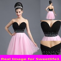 Wholesale Simple Black Cocktail Dress Designs - SD259BP Simple Design Short Min Homecoming Dresses For Sweet 16 Sweetheart Black Pink Tulle Party Gown Cocktail Dresses Cheap Under 60