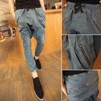 Cheap Wholesale-2016 New winter harem pants denim male skinny pants hiphop big low-rise jeans male men's singer costumes trousers clothing
