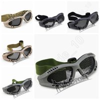 Wholesale Unisex Outdoor CS Impact Resistance Goggles Eyewear Eye Protection Adjustable Outdoor Game Glasses Eyeshield Steel Mesh Round Hole LJJP199