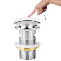 abs drain - 8cm Brass Bathroom Bath Sink Vessel Tap Basin Overflow Pop Up Drain Drainer
