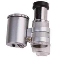 Al por mayor-mini microscopio de bolsillo 60x lupa de mano de la joyería de la lámpara LED de luz Lupa Lupa Detector de divisas EJ679535