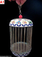 Wholesale 4 Colors collectable china handwork old cloisonne Tibet Silver cricket cage paint flower