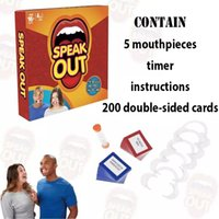 Wholesale 2016 New Hot Speak Out Board Game Mouthpieces Double Sided Cards Timer Instructions Christmas Gift Halloween Party Game Toy