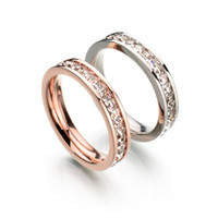 Wholesale Factory Direct New Fashion Classic Stainless Steel CZ Stone Ring Rose Gold Plated Wedding Ring For Christmas Gift