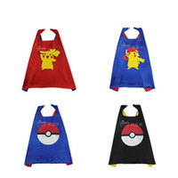 Wholesale DHL shipping Satin Fabric Poke Go Capes Styles cm Cute Pikachu Pokeball Cape For Kids Halloween Birthday Party Cosplay Custome