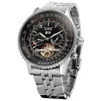 Prezzi Orologi jaragar-Orologi meccanico automatico di lusso degli uomini Tourbillon Automatico orologi in acciaio da uomo di sport meccanico orologi JARAGAR all'ingrosso di orologi