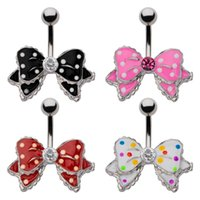 bell press - 14G Dotted Epoxy Bow with Single Press Fit Gem Belly Rings L Stainless Steel Curved Barbell Navel Piercing Jewelry