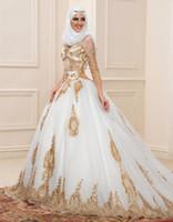 Precio de Novias musulmanes vestidos simples-Vestidos de boda largos musulmanes con las mangas largas Vestido de boda nupcial por encargo del vestido de la novia del vestido de bola 2016 del cequi de Hijab vestidos de noiva