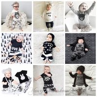 baby kid s clothes - Fedex DHL Free Kids Ins Suits T Shirts Pants Baby Ins Tops Trousers Summer Ins Outfits Fashion Shirts Harem Pants Ins Baby Clothing set Z412