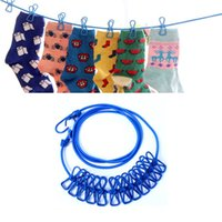 Wholesale Travel Outdoor Windproof Clothesline with Clips Colors Available