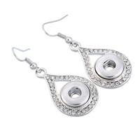 Wholesale 80pairs Noosa Chunk Button Snap Crystal Rhinestone Flower Water Drop Alloy Earrings Women DIY Jewelry Studs Button Dangles mm E755E