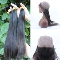 adding machines - 360 Lace Frontal Add Peruvian Straight Hair Pre Plucked Gorgeous Hair Lace Frontal With Bundles