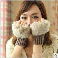 Wholesale Korean knitting glove lady winter warm wool imitation fur imitation fur short gloves