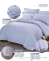 Wholesale brand king Size Bedding set cotton blue polka dot Sheet Pillowcases Duvet Cover