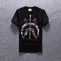 Wholesale New Men s Camo Shark T shirts White Black Zipper Printed Tees Shirts Fashion Short Sleeve Casual T shirt