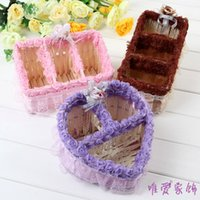 willow basket - Shipping Rose Lace rattan basket containing mobile phone cosmetic storage box heart shaped remote storage basket willow