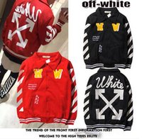 baseball white coat - EXO Style OFF WHITE Men And Women Baseball Jacket Coat Fashion Stripe Arrow Sweatshirt Lovers Sports Sweater Coat VIRGIL ABLOH