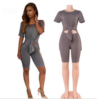 american golf clubs - New Fashion Summer Bodycon Two Piece Suit Club Wear Pink Grey Khaki Casual Crop Vest Shorts Set Sport Sets For Women