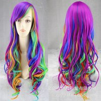 Wholesale Hot Sell Cosplay Wigs Mixed Color Wave Curls Girls Colorful Hair Wigs Fashion Role Playing Props c