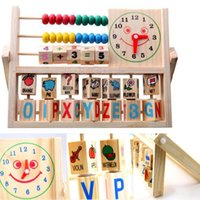 abc clock - Kids Multi function Education Toys Smile Face Clock ABC Count Wood Toys for Children Kids Toys Online