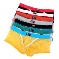 Wholesale Beach Mens Multicolor Boxer Mesh Stripe See Through Underpants Swimwear