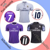 Wholesale 2017 Top Quality Real madrid soccer Jerseys RONALDO Home White Away Puple JAMES BALE RAMOS ISCO MODRIC Spain Football Shirts Uniforms