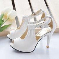 Wholesale 2017 New wedding shoes with braided strap high heel bridal shoes platform sandals white beige and black bridesmaid shoes party shoes