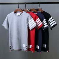 Wholesale 2016 New Summer new Fashion t shirt cotton short sleeve four striped T shirt high quality Men classic TB o neck T shirts