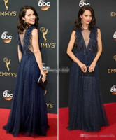 art spot lights - Sexy Abigail Spencer Red Carpet of Emmys Celebrity Dresses Navy Blue Spot Tulle Sequins Sheer Neck Evening Gowns Long Party Prom Dress