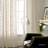 Wholesale Pastoral style flocking three dimensional flowers girl gauze bedroom cut off the floor window curtain finished