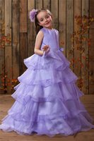 beauty sweets - Beauty Sweet Purple Girls Pageant Ball Gowns Sash With Bows Tiered Organza Appliques Flowers Girls Dresses For Weddings Princess New