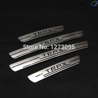 accessories chevy - For Chevrolet Chevy Trax Exterior Door Sill Scuff Plate Stainless Steel Threshold Tread Plate Trim Welcome Pedal Car Accessories