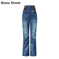 Wholesale Gsou Snow Women Ski Pants High Waist Denim Skiing Pants Female Snowboarding Pants Thickening Windproof Waterproof