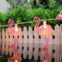 battery gardens - 2016 New Christmas Holiday Wedding Party Decoration Red Flamingo LED Bulbs String Light Battery Opetated Home Party Garden Decorations