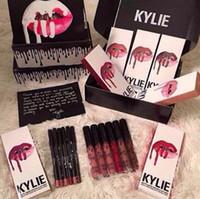 Wholesale Kylie Lip Kit by kylie jenner Velvetine color Liquid Matte Brown Sugar Dirty Peach Lipstick Lip Pencil Lip Gloss DHL