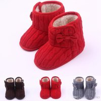 Wholesale Hot Warm Wool Fabric Bow Hook Loop Outside Fur Lining Baby Boots First walker Toddler Baby Girl Shoes Three Colors