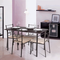 Wholesale IKAYAA Modern Metal Frame Dining Kitchen Table Chairs Set for Person Kitchen Furniture kg Load Capacity H16905