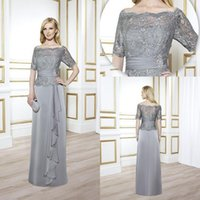 ball suits - Vintage Mother of The Bride Groom Grey Sliver With Lace Half Long Sleeves Sexy Formal Ball Gowns Suits Dress Sheer