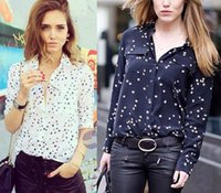Wholesale 2016 Eq NEW Luxury Brand Silk Stars Pattern shirts Blouses Women Super Star Lovers Good Quality Black White Pockets shirt HOT Fashion