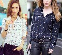 Wholesale 2016 Eq NEW Luxury Brand Silk Stars Pattern shirts Blouses Women Super Star Lovers Good Quality Black White Pockets shirt HOT Fashion